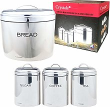 4 Pc Stainless Steel Bread Bin & Sugar Tea Coffee