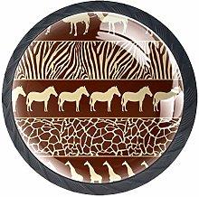 4 Pcs 35mm African Animals Cabinet Knobs Round