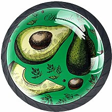 4 Pcs 35mm Avocado and Leaves Green Background