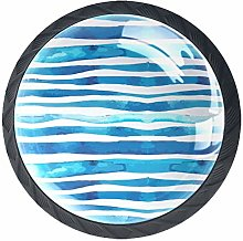 4 Pcs 35mm Blue Water Wave Cabinet Knobs Round