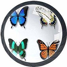 4 Pcs 35mm Colorful Butterflies Cabinet Knobs