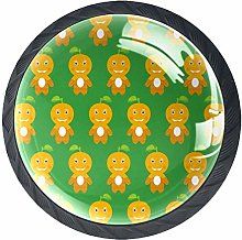 4 Pcs 35mm Cute Orange Man Cabinet Knobs Round