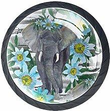 4 Pcs 35mm Elephant Flowers Cabinet Knobs Round