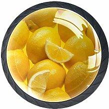 4 Pcs 35mm Fruit Lemons Texture Yellow Cabinet