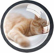 4 Pcs 35mm Sleeping Cat Cabinet Knobs Round