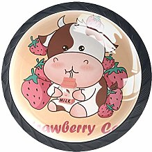 4 Pcs 35mm Strawberries and Cows Drinking Milk
