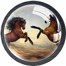 4 Pcs Animal Horses Crystal Class Cabinet Knobs