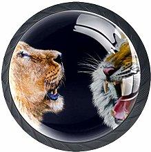 4 Pcs Animal King Tiger Lion Crystal Class Cabinet