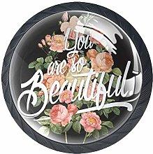 4 Pcs Beautiful Flowers Crystal Class Cabinet