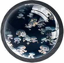 4 Pcs Beautiful Jellyfish Crystal Class Cabinet