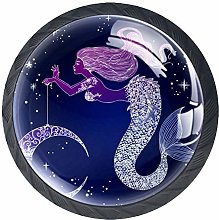 4 PCS Beautiful Mermaid With Moon Crystal Glass