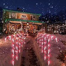 4 Pcs Christmas Candy Cane Lights Solar LED