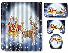 4 Pcs Christmas Shower Curtain Set with Non-Slip
