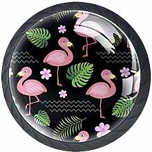 4 Pcs Drawer Pull Handle , Black Flamingo Drawer