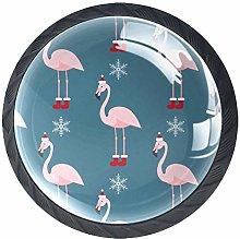 4 Pcs Drawer Pull Handle , Flamingo with Christmas