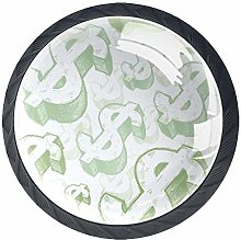 4 Pcs Drawer Pull Handle , Hand Drawn Dollar Signs