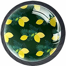 4 Pcs Drawer Pull Handle , Lemon with Leaves