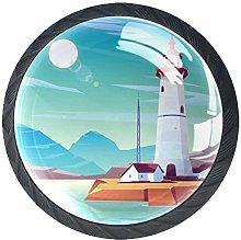 4 Pcs Drawer Pull Handle , Lighthouse Seashore