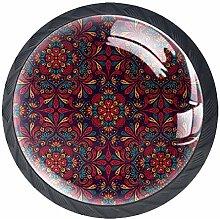 4 Pcs Drawer Pull Handle , Mandala Red Drawer
