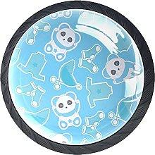 4 Pcs Drawer Pull Handle , Panda Blue Drawer Knobs
