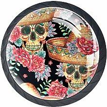4 Pcs Drawer Pull Handle , Skull Drawer Knobs