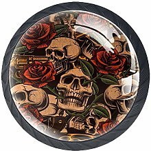 4 Pcs Drawer Pull Handle , Skull with Rose Vintage