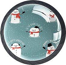 4 Pcs Drawer Pull Handle , Snowman Drawer Knobs