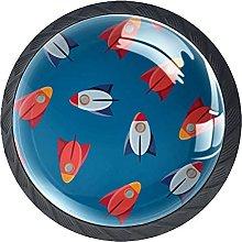 4 Pcs Drawer Pull Handle , Space Rockets Drawer