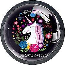 4 Pcs Drawer Pull Handle , Unicorn Black Drawer