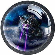 4 Pcs Fashion Galaxy Cat Lunar Crystal Class