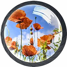 4 Pcs Floral Poppies Crystal Class Cabinet Knobs