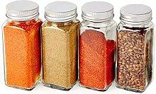 4 PCS Glass Spice Jars/Bottles, 4oz Empty Square