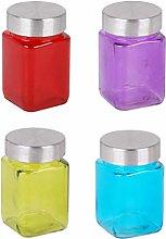 4 PCS Glass Spice Jars Square Coloured 300ml