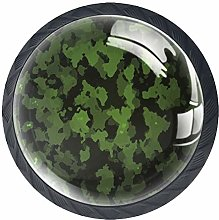 4 Pcs Green Camouflage Crystal Class Cabinet Knobs