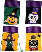 4 Pcs Halloween Drawstring Bags, Halloween Sweets