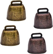 4 Pcs Metal Cow Bell Copper Bells, Shepherd Bell