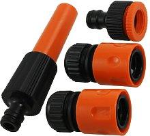 4 Pcs Orange Black Plastic Garden Tool Water Hose