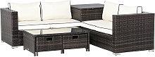 4 Pcs Patio Rattan Sofa Garden Furniture Set Table