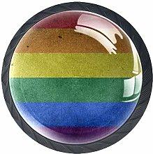 4 Pcs Rainbow Flag Crystal Class Cabinet Knobs