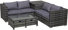 4 pcs Rattan Furniture Sofa Storage Table Set w/ 2