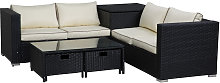 4 pcs Rattan Furniture Sofa Storage Table Set w/ 2