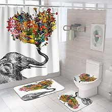 4 Pcs Red Black Shower Curtain Sets with Rugs,
