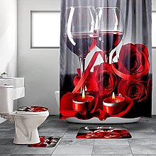 4 Pcs Red Wine Rose Shower Curtain Set with Rugs