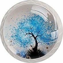 4 Pcs Round Crystal Glass knobs, Door Cabinet