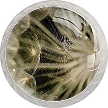 4 PCS Round Crystal Glass Wardrobe Knobs Cupboard