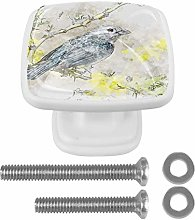 4 PCS Square Crystal Glass Wardrobe Knobs Cupboard