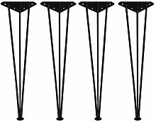 4 Pcs Wrought Iron Table Legs, Black/Silver DIY