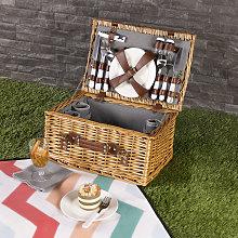 4 Person Wicker Picnic Basket Including Cutlery,