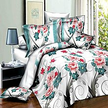 4 Piece 3D Effect Nicely Made Floral Printed Duvet