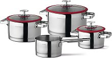 4 Piece Cookware Set Silver and Red - Red -